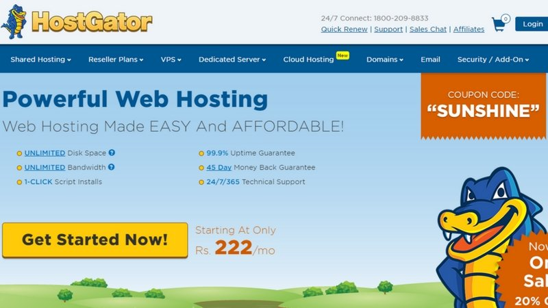 Hostgator hosting - www.techactive.in