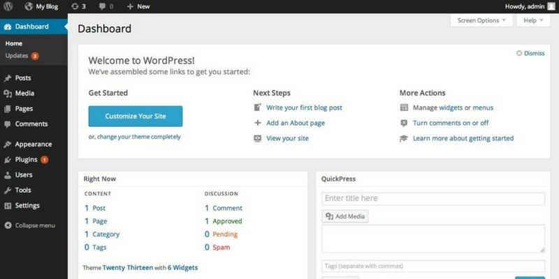 WordPress Dashboard First Look