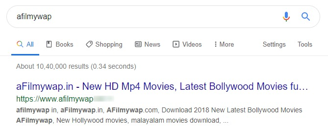 afilmywap search screenshot
