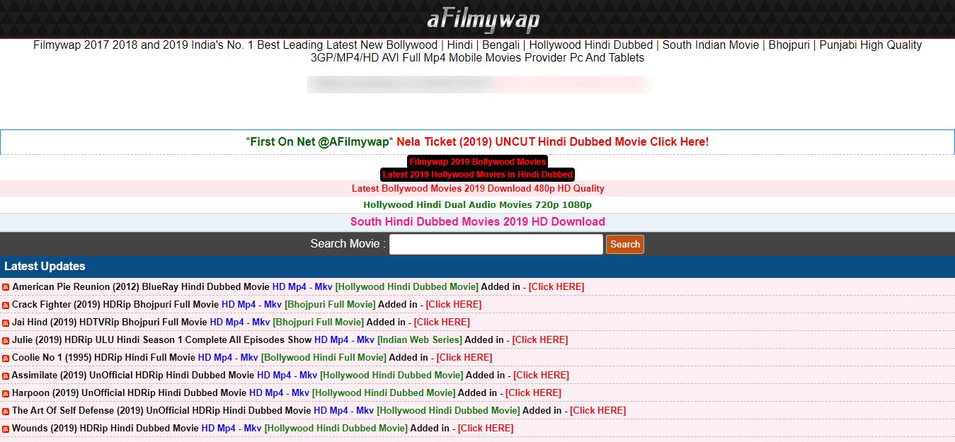 afilmywap website screenshot